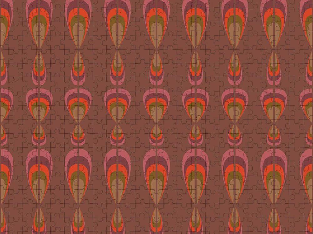 Upholstery Puzzle featuring the digital art Seamless Geometric Vintage Wallpaper by Leszek Glasner
