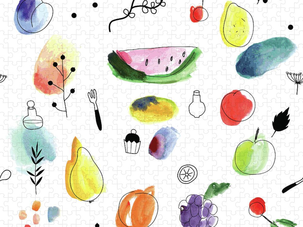 Cherry Puzzle featuring the digital art Seamless Pattern With Fruits, Berries by Loliputa