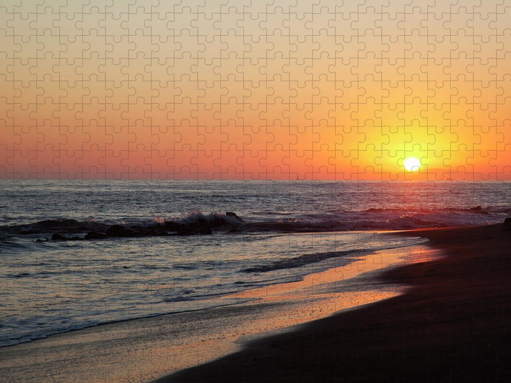 Scenics Puzzle featuring the photograph Setting Sun On A Crystal Cove Beach by Driendl Group
