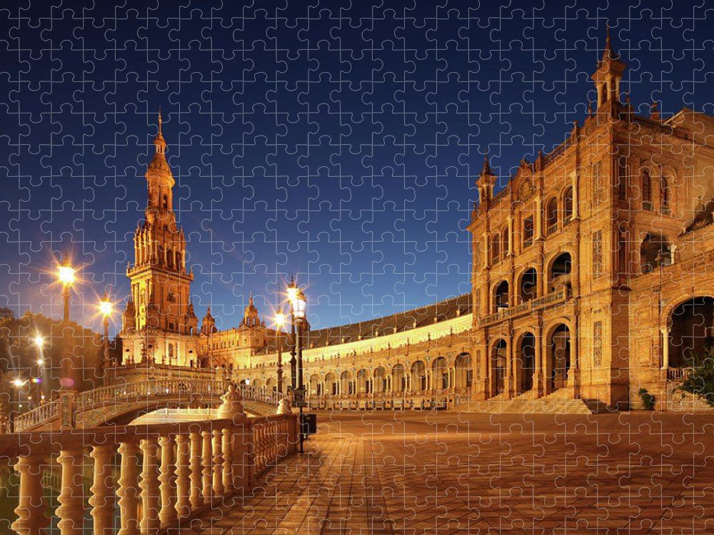 Tranquility Puzzle featuring the photograph Seville - Plaza De España by David Bank