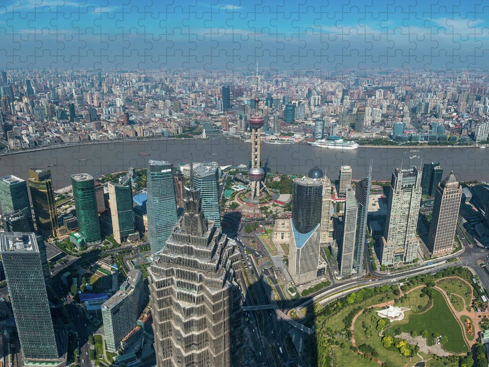 Chinese Culture Puzzle featuring the photograph Shanghai Aerial View Over Pundong by Fotovoyager