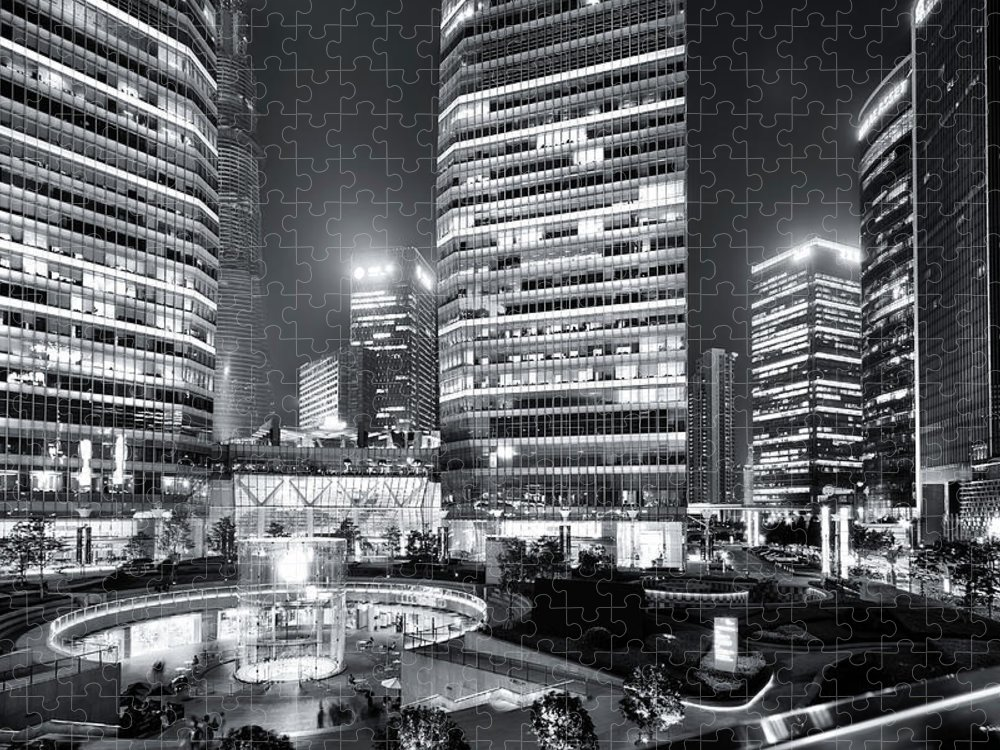 Financial District Puzzle featuring the photograph Shanghai by Photographer - Rob Smith