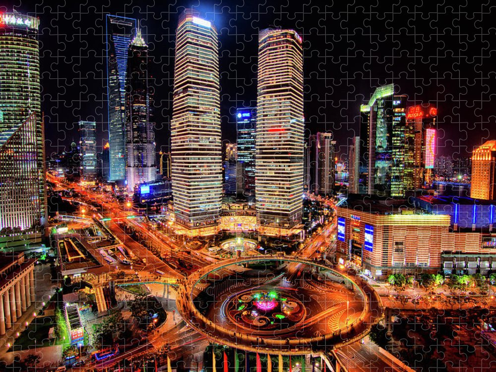 Financial District Puzzle featuring the photograph Shanghais Financial City Center by Mimo Khair Photography