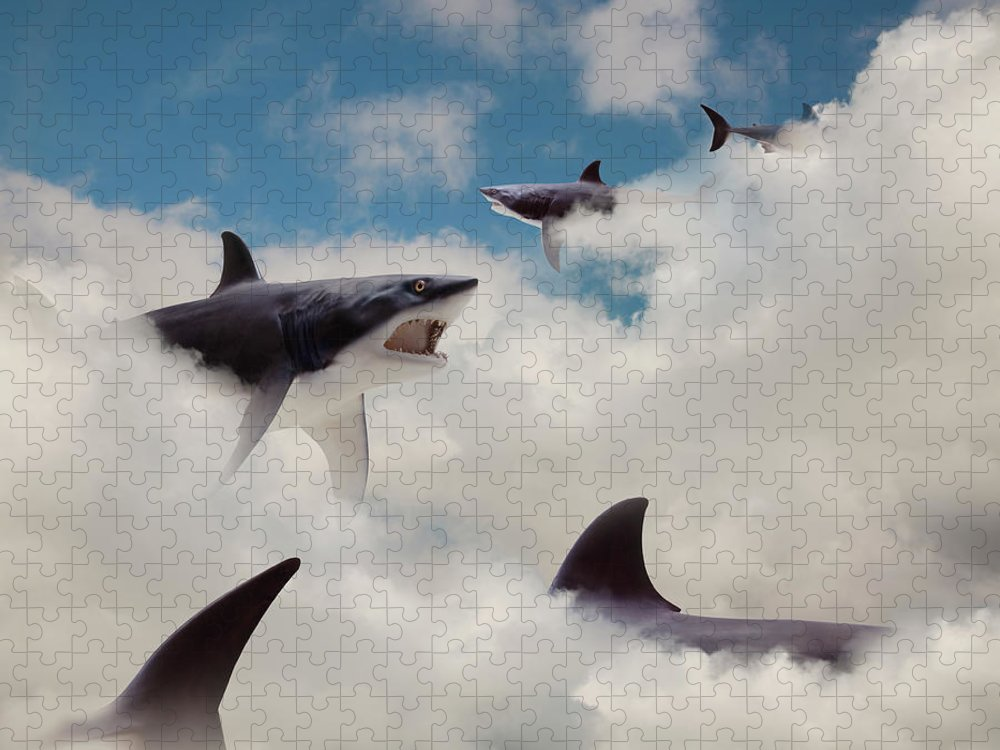Risk Puzzle featuring the photograph Sharks Floating In Clouds by John M Lund Photography Inc