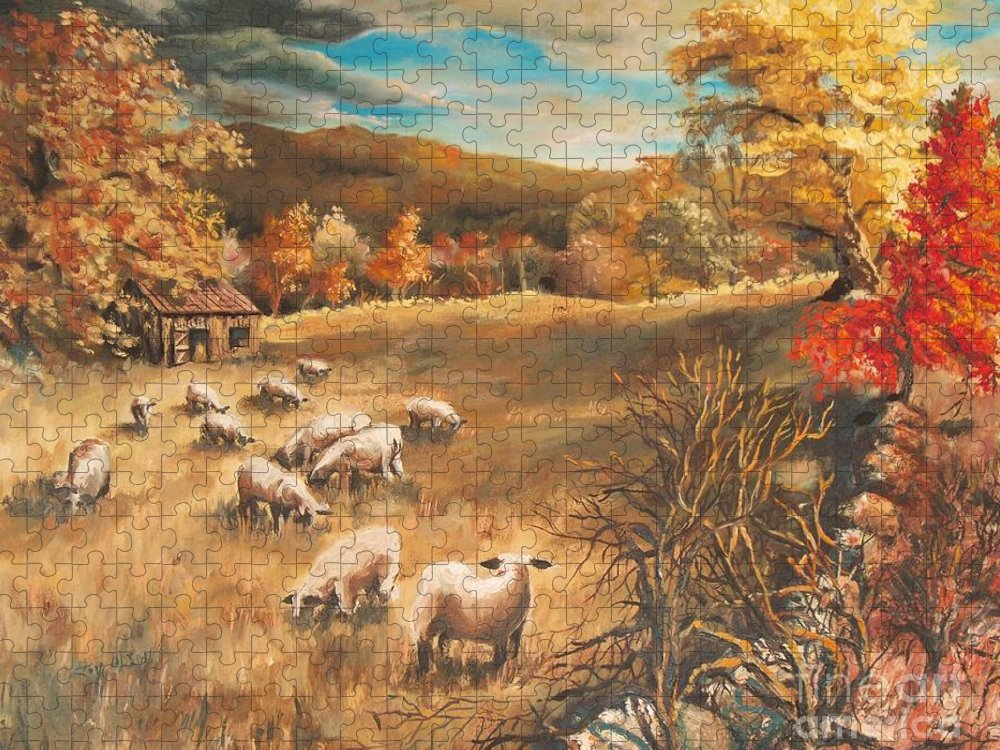 Oil Painting Puzzle featuring the painting Sheep in October's field by Joy Nichols