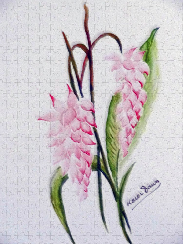 Tropical Ginger Puzzle featuring the painting Shell Ginger by Karin Dawn Kelshall- Best