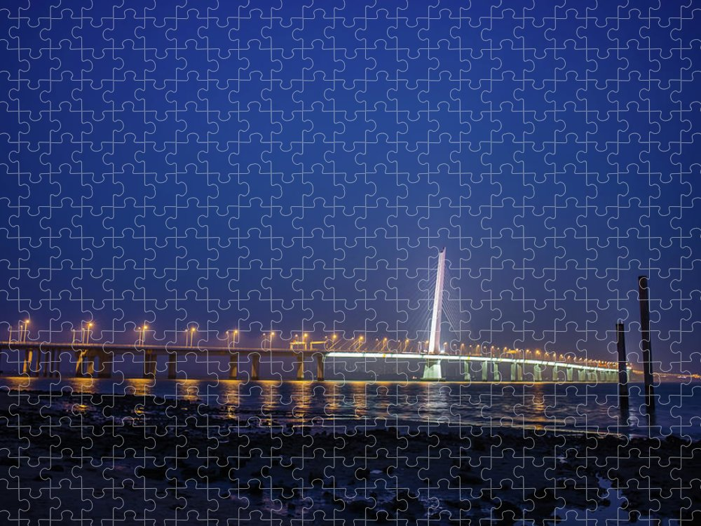Tranquility Puzzle featuring the photograph Shenzhen Bay Bridge by Jeff Chen