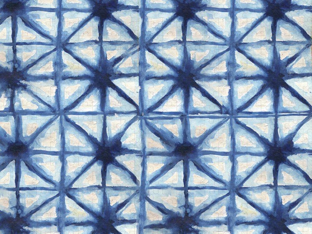 Shibori Puzzle featuring the digital art Shibori Iv by Elizabeth Medley