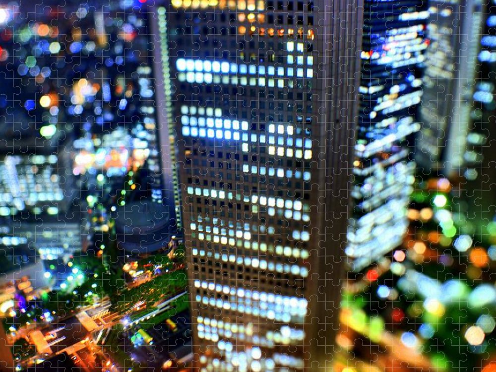 Built Structure Puzzle featuring the photograph Shinjuku by Takashi Kitajima