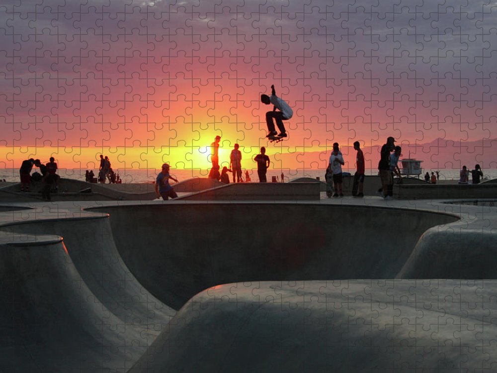 Expertise Puzzle featuring the photograph Skateboarding At Venice Beach by Mgs