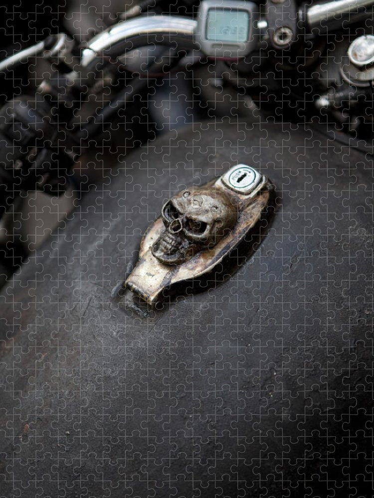Berlin Puzzle featuring the photograph Skull Design On Motorcycle Ignition by Andreas Schlegel