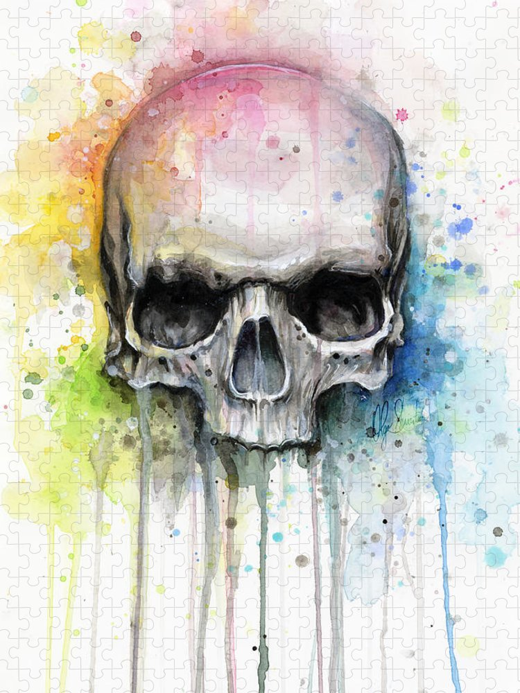 Skull Puzzle featuring the painting Skull Watercolor Painting by Olga Shvartsur
