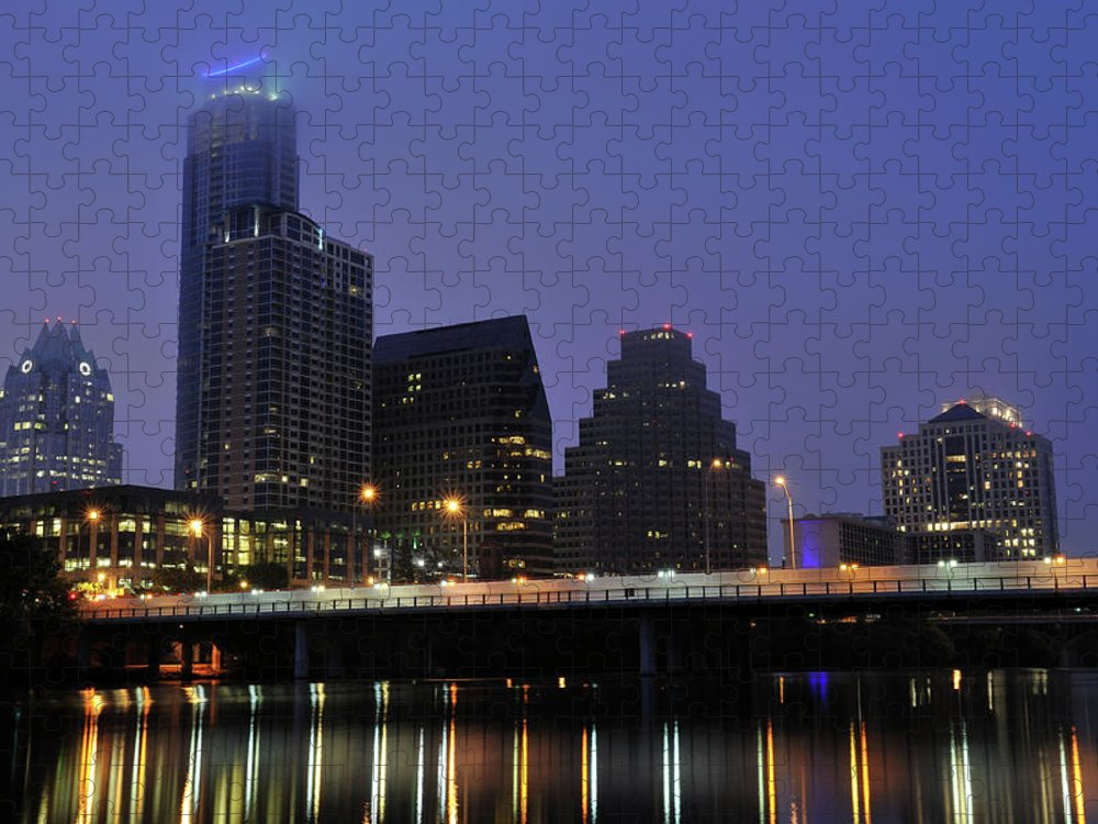 Color Image Puzzle featuring the photograph Skyline And Bridge In Austin by Aimintang