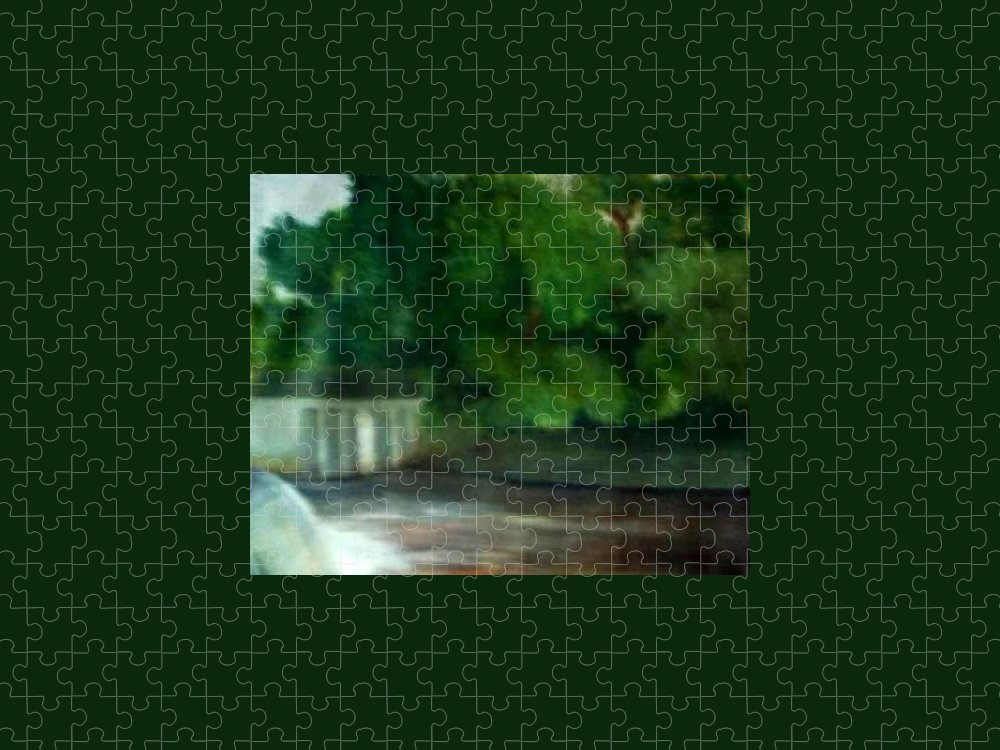 Smithville Park Puzzle featuring the painting Smithville Park Dam by Sheila Mashaw