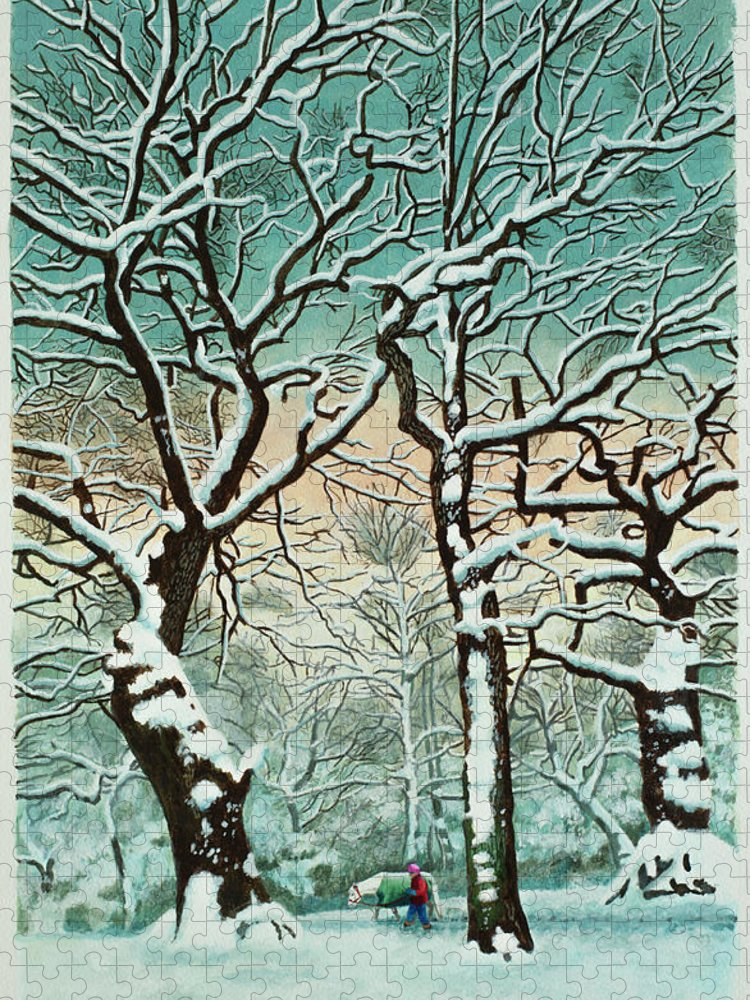 People Puzzle featuring the digital art Snow In Forest by Georgette Douwma