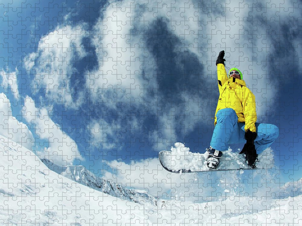 Young Men Puzzle featuring the photograph Snowboarding by Yulkapopkova