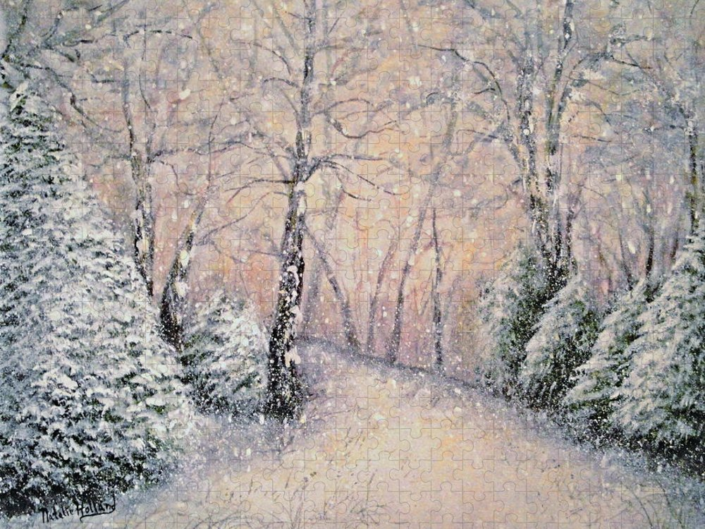 Snow Landscape Puzzle featuring the painting Snowflakes by Natalie Holland