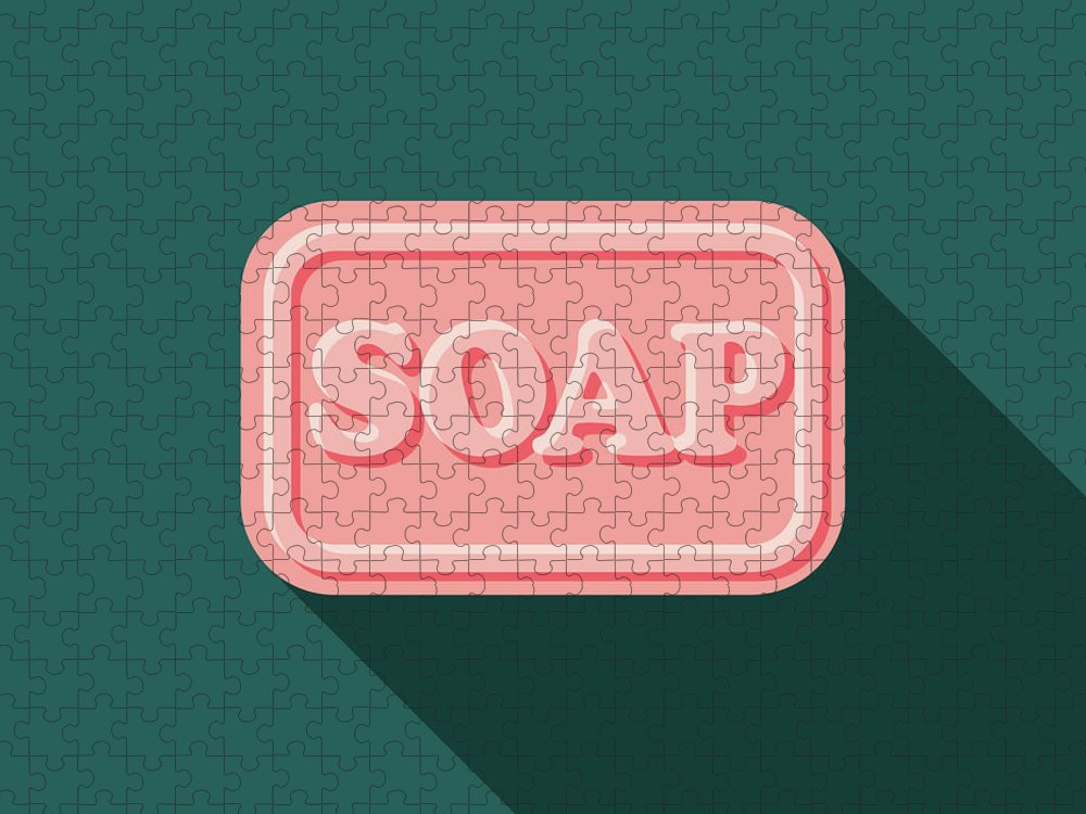 Art Puzzle featuring the digital art Soap Flat Design Cleaning Icon With by Bortonia