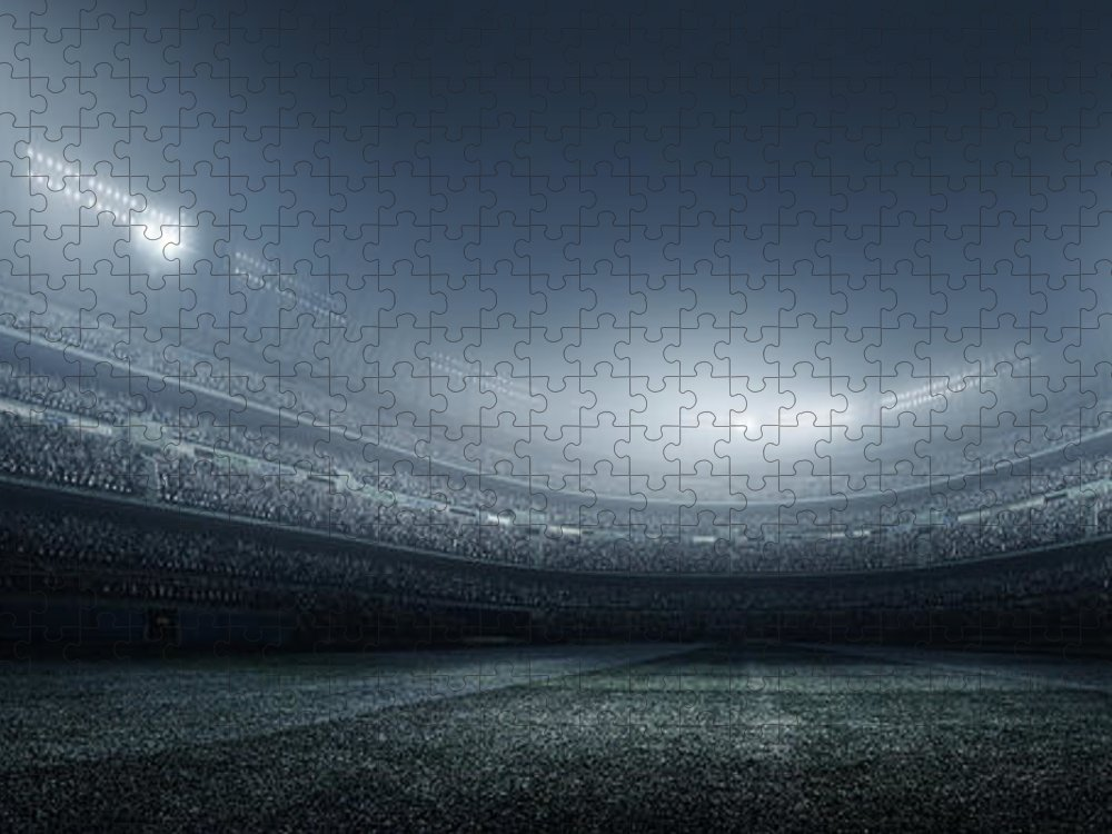Soccer Uniform Puzzle featuring the photograph Soccer Player With Ball In Stadium by Dmytro Aksonov
