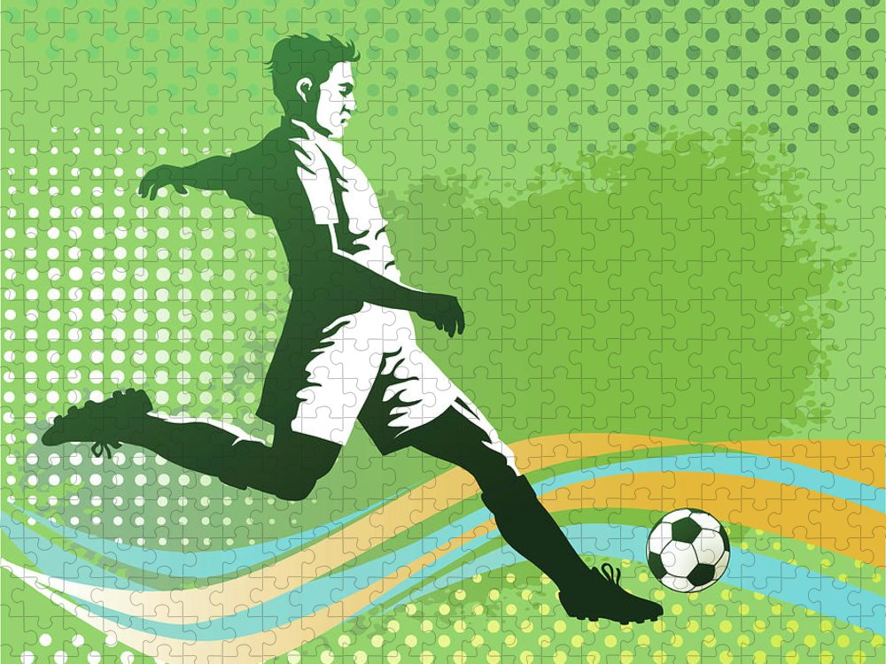 Event Puzzle featuring the digital art Soccer Player With Ball On Green by Vasjakoman