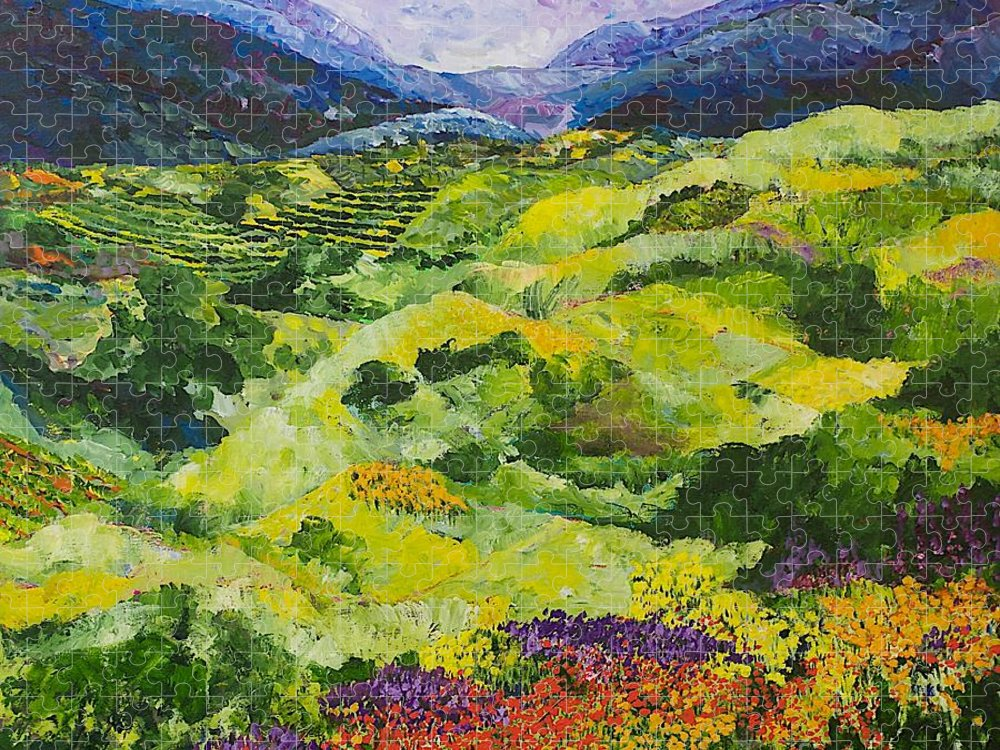 Landscape Puzzle featuring the painting Soft Grass by Allan P Friedlander