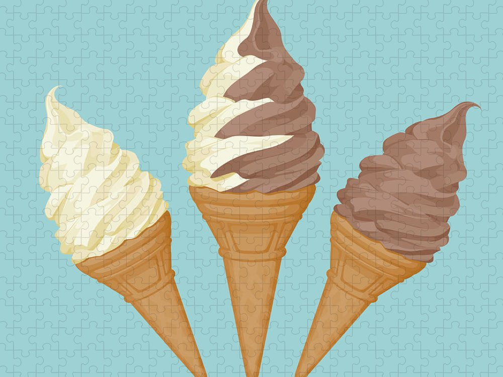 Vanilla Puzzle featuring the digital art Soft Ice Cream Cone by Saemilee