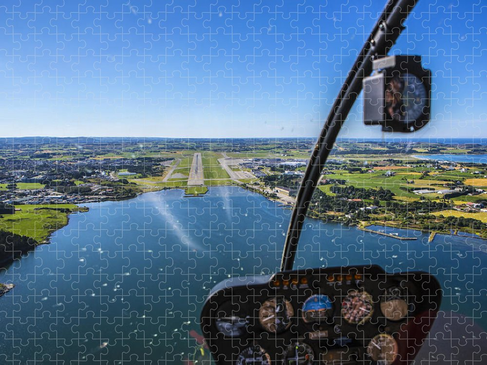 Water's Edge Puzzle featuring the photograph Sola And Sola Airport, Aerial Shot by Sindre Ellingsen