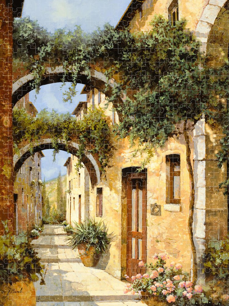 Arch Puzzle featuring the painting Sotto Gli Archi by Guido Borelli