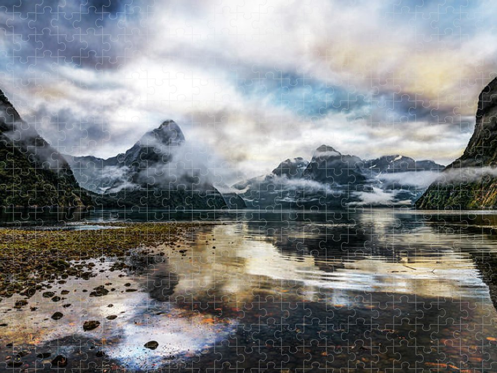 Scenics Puzzle featuring the photograph Sound Asleep | Fiordland, New Zealand by Copyright Lorenzo Montezemolo