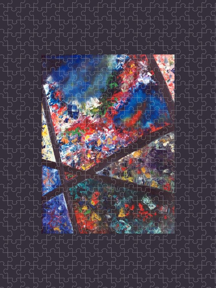 Abstract Puzzle featuring the painting Spectral Chaos by Micah Guenther