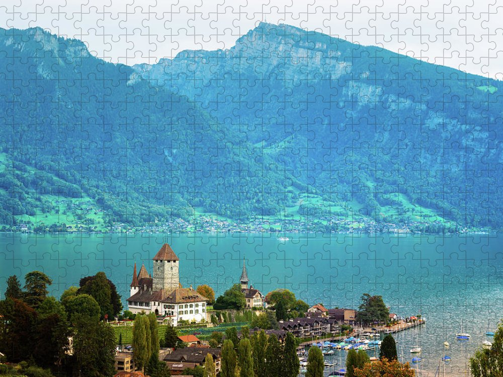 Built Structure Puzzle featuring the photograph Spiez With Lake Thun Switzerland by Nicolasmccomber