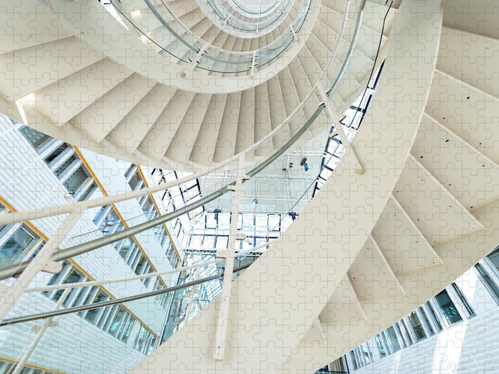 Steps Puzzle featuring the photograph Spiral Staircase Inside Office Complex by Blurra