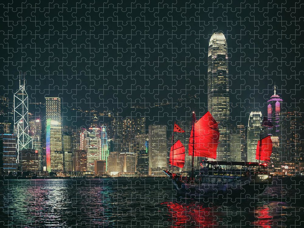 Outdoors Puzzle featuring the photograph Splendid Asian City, Hong Kong by D3sign