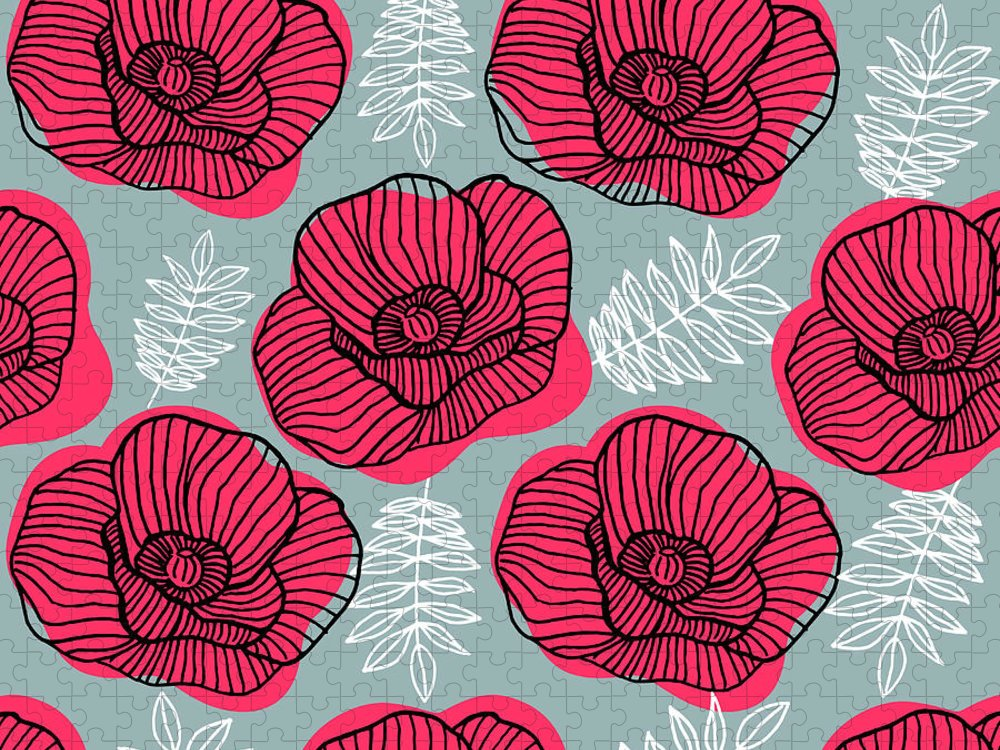 Flowerbed Puzzle featuring the digital art Spring Bright Seamless Floral Pattern by Ekaterina Bedoeva