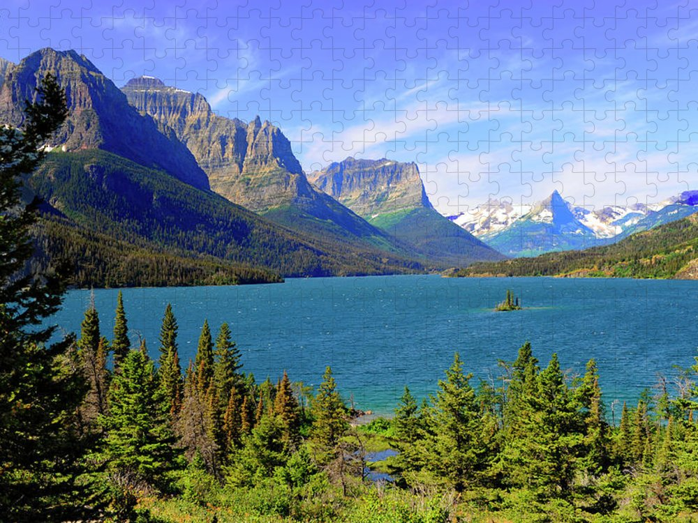 Scenics Puzzle featuring the photograph St. Mary Lake, Glacier National Park by Dennis Macdonald