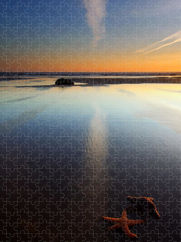 Starfish Puzzle featuring the photograph Starfish Sunset by Mike Dawson