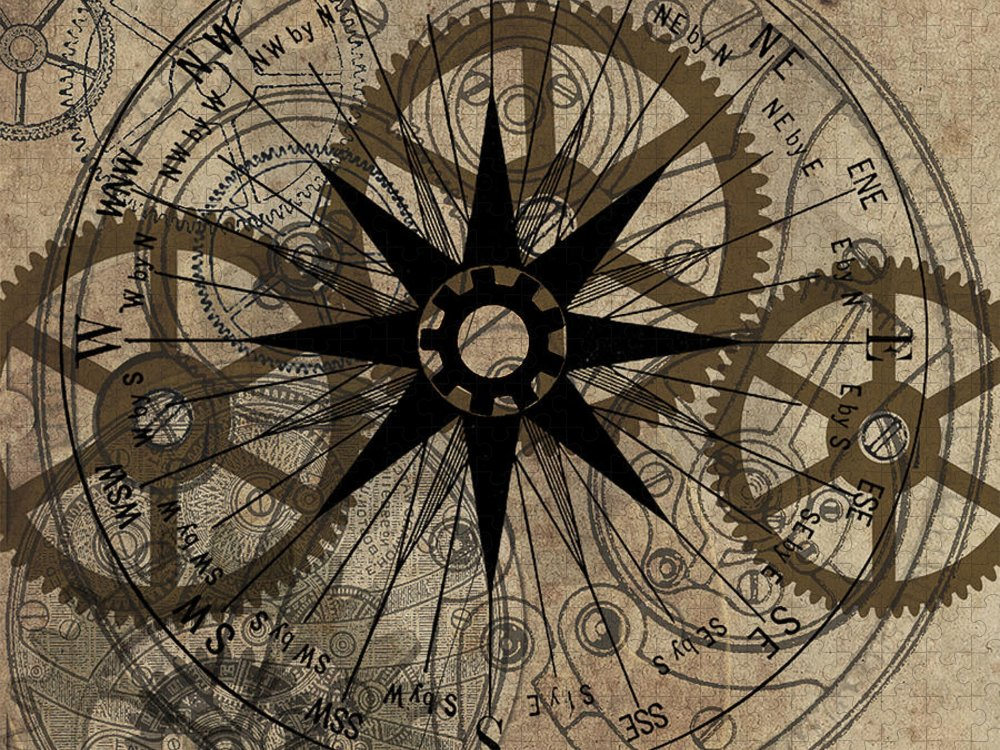 Steampunk Puzzle featuring the painting Steampunk Gold Gears II by James Christopher Hill