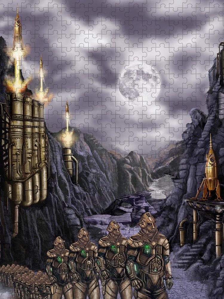 Steampunk Puzzle featuring the painting Steampunk Moon Invasion by James Christopher Hill