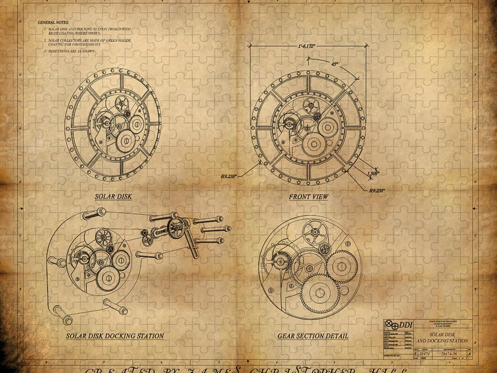 Steampunk; Gears; Housing; Cogs; Machinery; Lathe; Columns; Brass; Copper; Gold; Ratio; Rotation; Elegant; Forge; Industry; Clockwork Puzzle featuring the painting Steampunk Solar Disk by James Christopher Hill