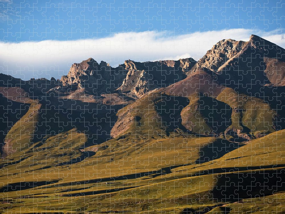 Scenics Puzzle featuring the photograph Steppe Valley With Surrounding Peaks by Merten Snijders