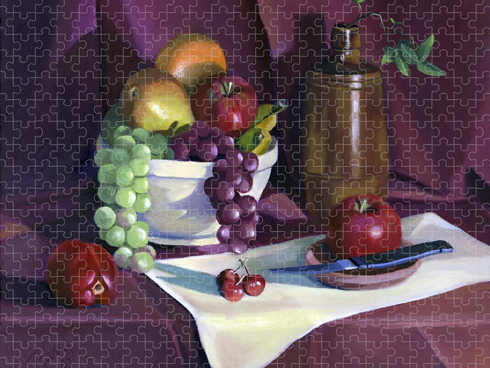 Fine Art Puzzle featuring the painting Still Life with Apples by Nancy Griswold
