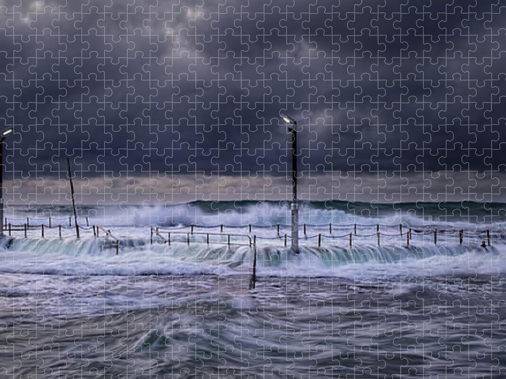Panoramic Puzzle featuring the photograph Stormy Ocean, Monavale Beach, Australia by Bert