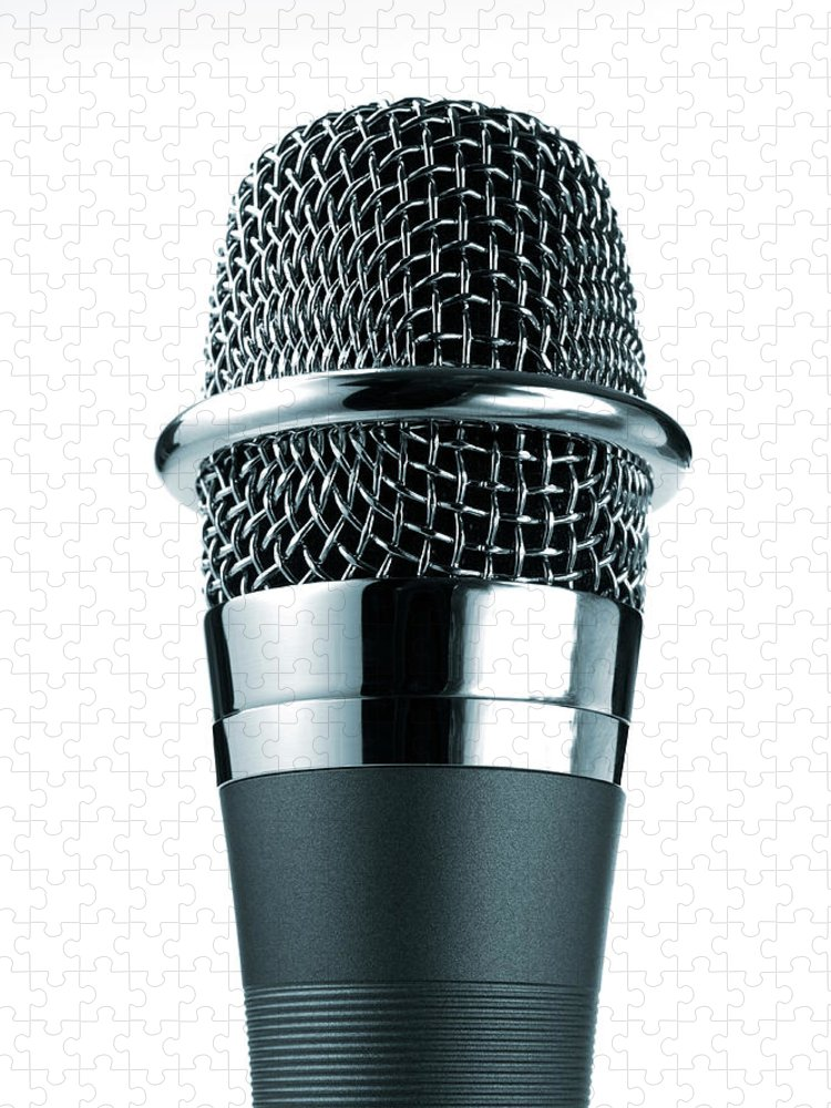 White Background Puzzle featuring the photograph Studio Shot Of Microphone On White by David Arky