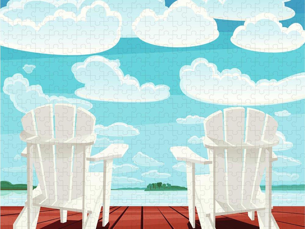 Scenics Puzzle featuring the digital art Summer Background Muskoka Chairs by Rusanovska