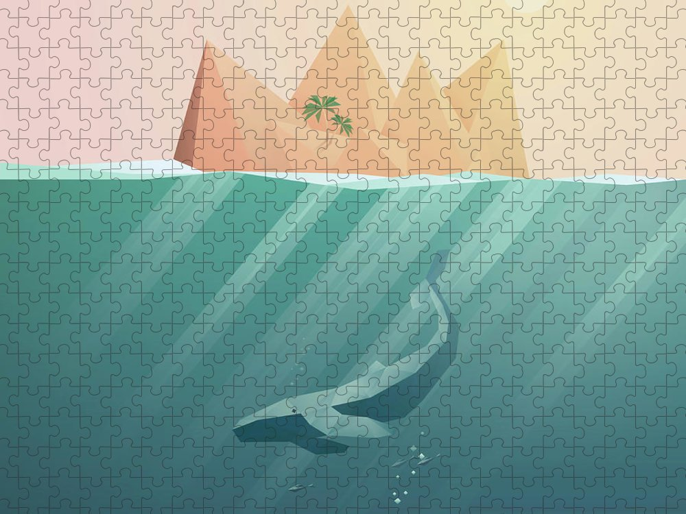 Underwater Puzzle featuring the digital art Summer Background With Underwater by Jozefmicic
