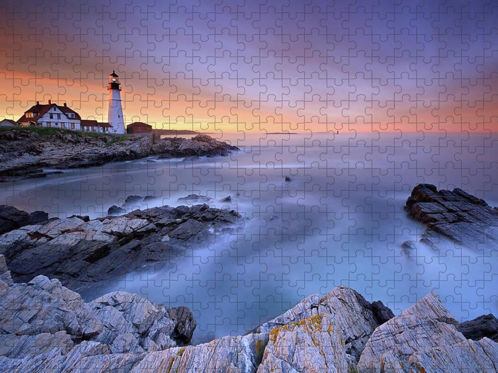 Tranquility Puzzle featuring the photograph Summer Sunset At The Portland Head Light by Katherine Gendreau Photography