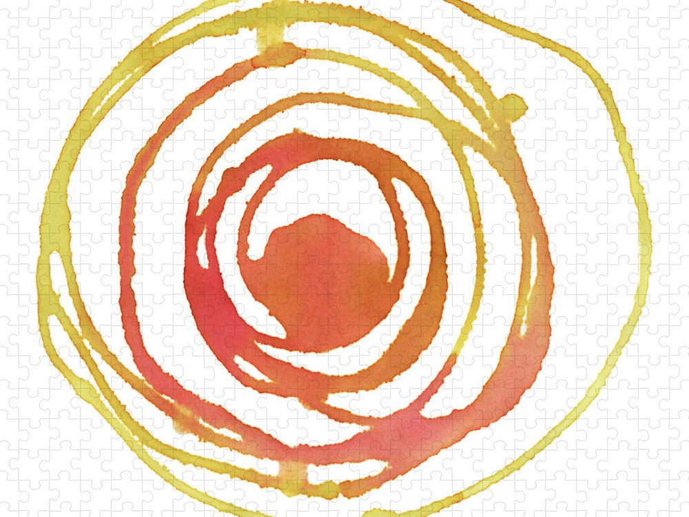 Watercolor Painting Puzzle featuring the digital art Sun Circle Abstract Water Color Paint by 4khz