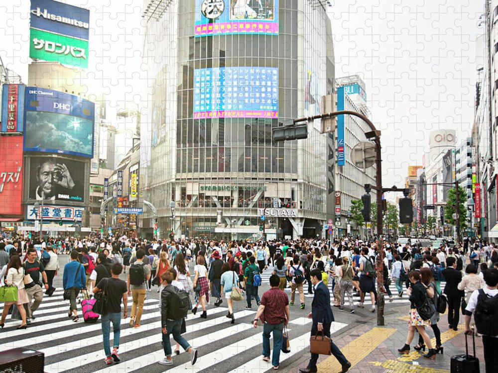 Crowd Puzzle featuring the photograph Sunny Day In Shibuya by Xavierarnau