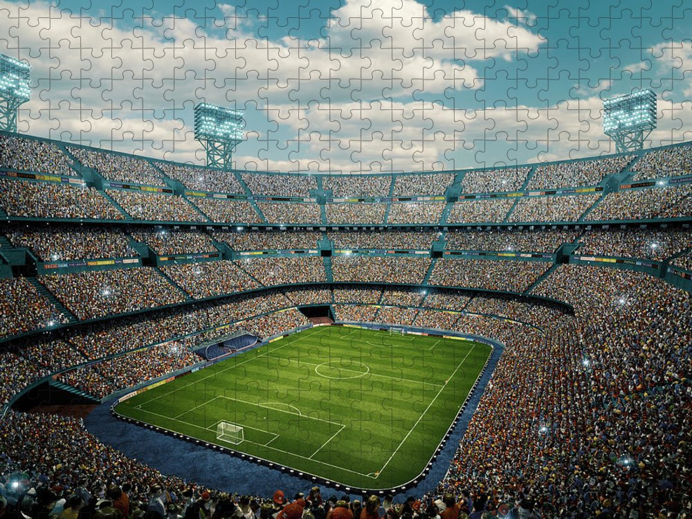 Event Puzzle featuring the photograph Sunny Soccer Stadium Panorama by Dmytro Aksonov