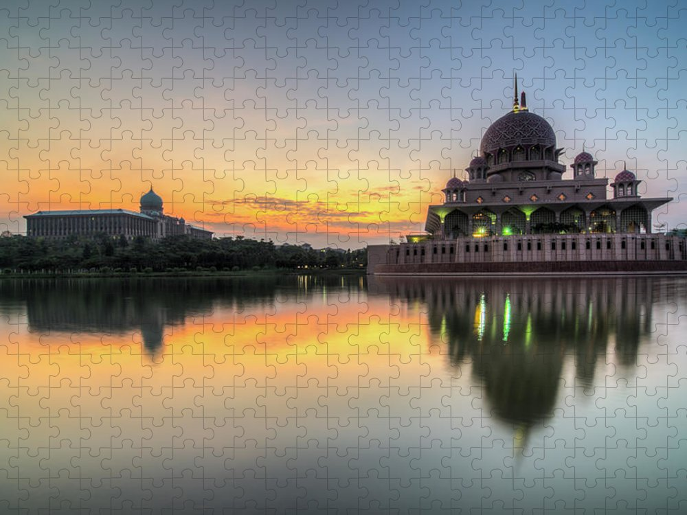 Tranquility Puzzle featuring the photograph Sunrise   Masjid Putra, Putrajaya   Hdr by Mohamad Zaidi Photography